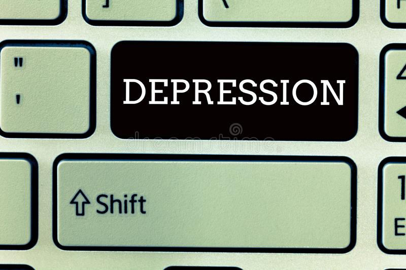Text sign showing Depression. Conceptual photo Feelings of severe despondency and dejection Mood disorder.  vector illustration