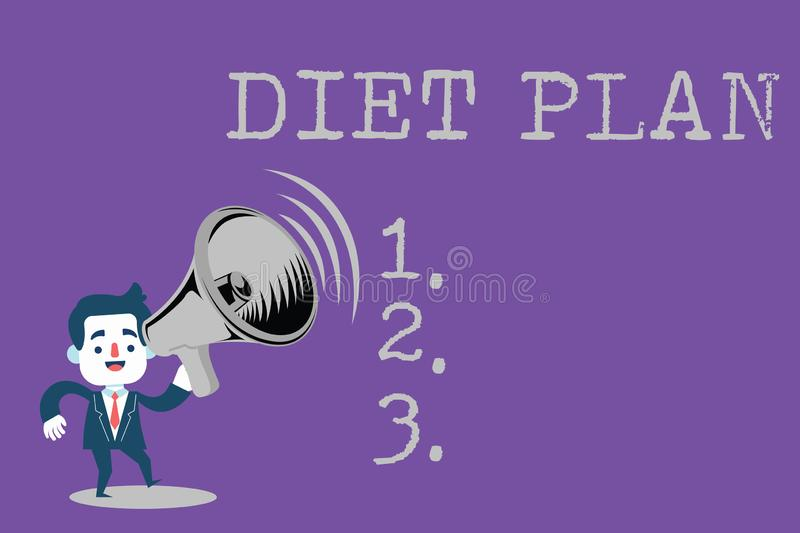 Text sign showing Diet Plan. Conceptual photo Use of specific intake of nutrition for health analysisagement reasons royalty free illustration