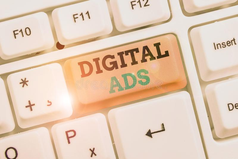 Text sign showing Digital Ads. Conceptual photo uses the Internet to deliver promotional marketing messages. Text sign showing Digital Ads. Business photo royalty free stock images