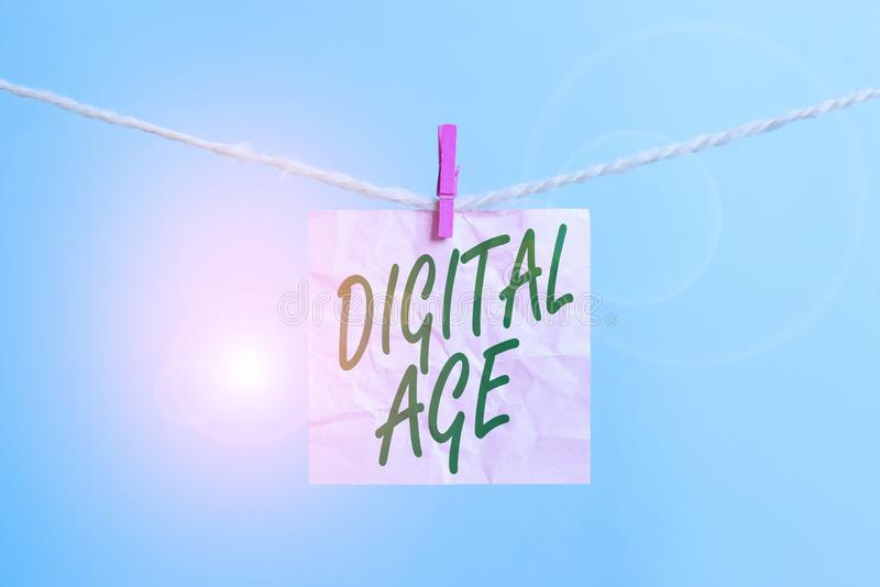 Text sign showing Digital Age. Conceptual photo introduction of the demonstratingal computer with subsequent technology. Text sign showing Digital Age. Business stock photo