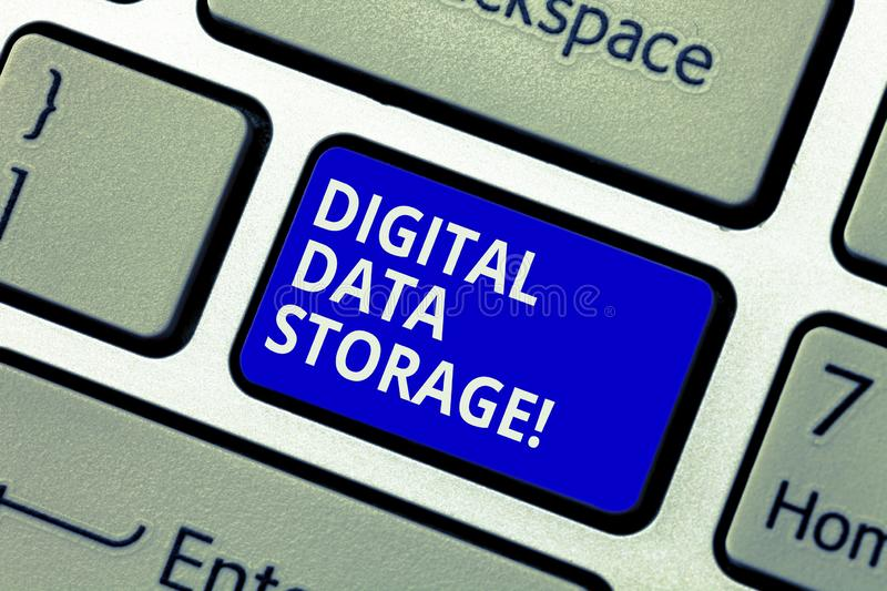 Text sign showing Digital Data Storage. Conceptual photo format for storing and backing up computer data on tape. Keyboard key Intention to create computer royalty free stock photo