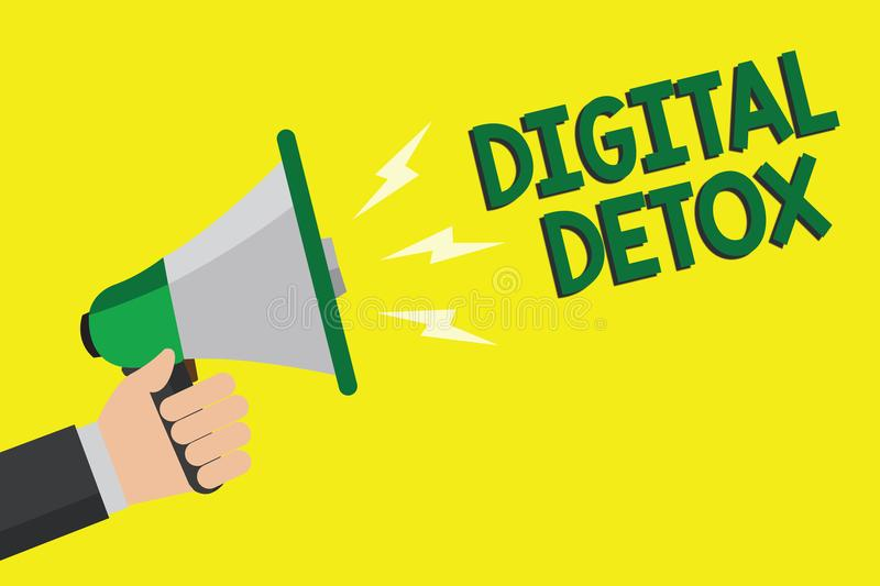 Text sign showing Digital Detox. Conceptual photo Free of Electronic Devices Disconnect to Reconnect Unplugged Man holding megapho. Ne loudspeaker yellow vector illustration