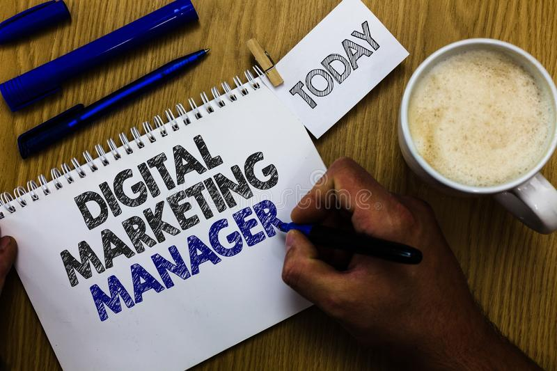 Text sign showing Digital Marketing Manager. Conceptual photo optimized for posting in online boards or careers Man holding marker royalty free stock photography