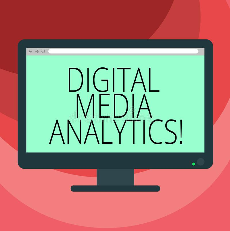 Text sign showing Digital Media Analytics. Conceptual photo Analysis of information flowing from a business Blank Computer Desktop royalty free illustration