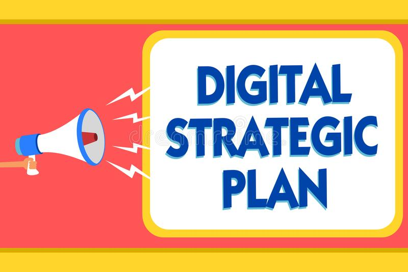Text sign showing Digital Strategic Plan. Conceptual photo creat schedule for marketing product or brand Message warning signals s. Ound speakers alarming vector illustration