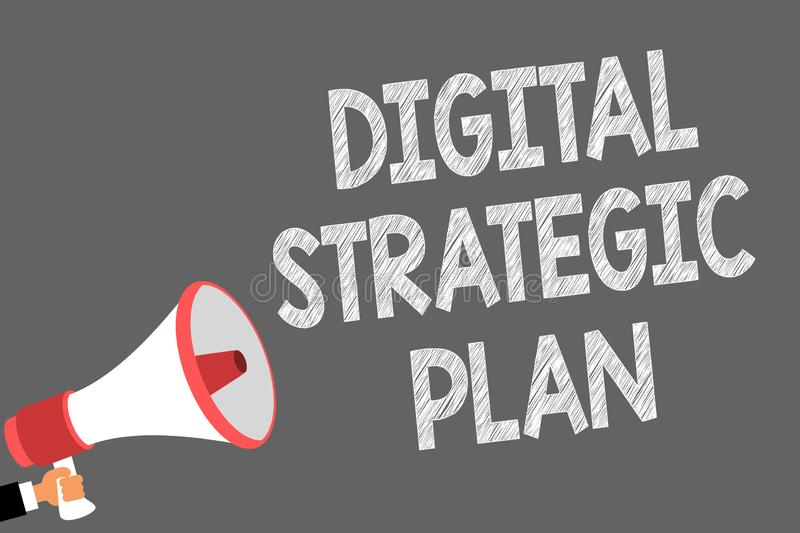 Text sign showing Digital Strategic Plan. Conceptual photo creat schedule for marketing product or brand Symbols speaker. Alarming warning sound indications vector illustration