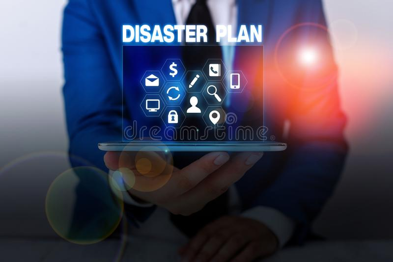 Text sign showing Disaster Plan. Conceptual photo Respond to Emergency Preparedness Survival and First Aid Kit. Text sign showing Disaster Plan. Business photo royalty free stock image