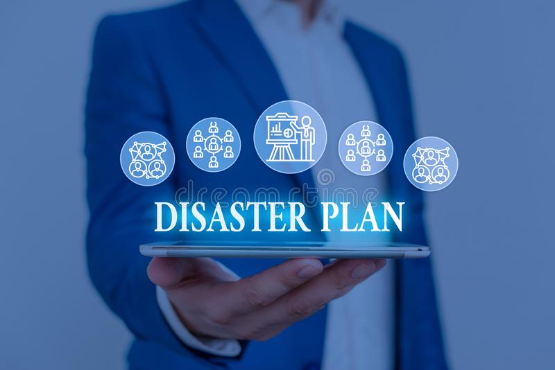 Text sign showing Disaster Plan. Conceptual photo Respond to Emergency Preparedness Survival and First Aid Kit Male. Text sign showing Disaster Plan. Business royalty free stock images
