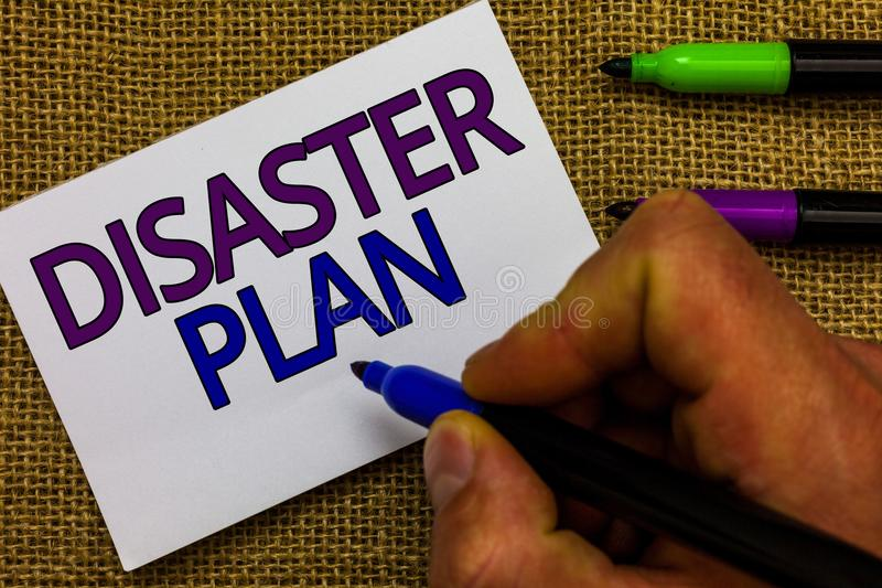 Text sign showing Disaster Plan. Conceptual photo Respond to Emergency Preparedness Survival and First Aid Kit Man hand holding ma. Rker white paper royalty free stock photos