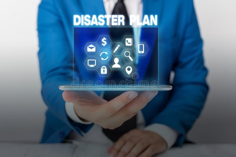 Text sign showing Disaster Plan. Conceptual photo Respond to Emergency Preparedness Survival and First Aid Kit. Text sign showing Disaster Plan. Business photo stock photography