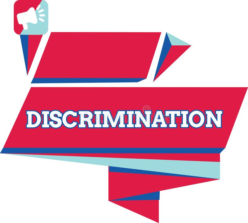 Text sign showing Discrimination. Conceptual photo Prejudicial treatment of different categories of showing.  vector illustration