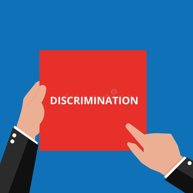 Text sign showing Discrimination. Vector illustration vector illustration