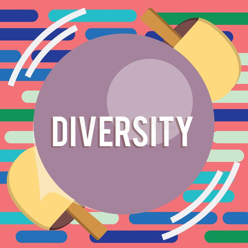 Text sign showing Diversity. Conceptual photo state of being diverse range different things miscellany mixture Table Tennis Racket stock photography