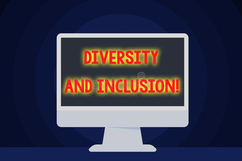 Text sign showing Diversity And Inclusion. Conceptual photo range huanalysis difference includes race ethnicity gender. Text sign showing Diversity And Inclusion vector illustration
