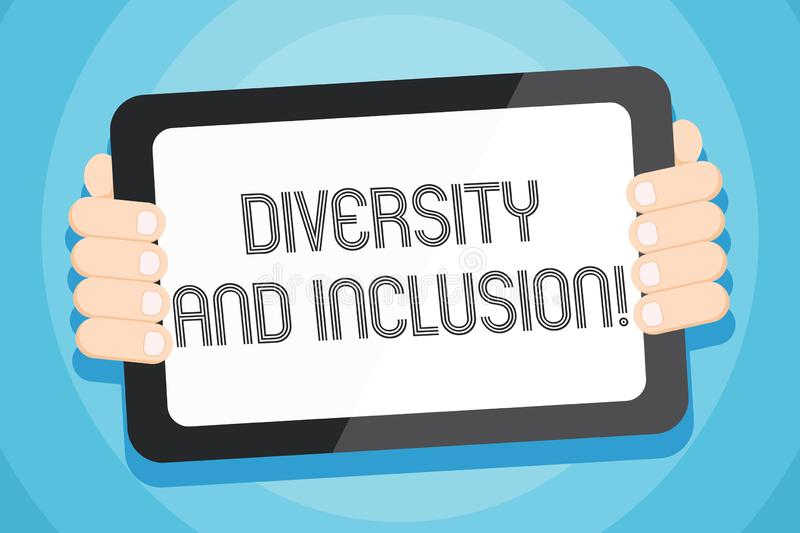 Text sign showing Diversity And Inclusion. Conceptual photo range huanalysis difference includes race ethnicity gender. Text sign showing Diversity And Inclusion stock illustration