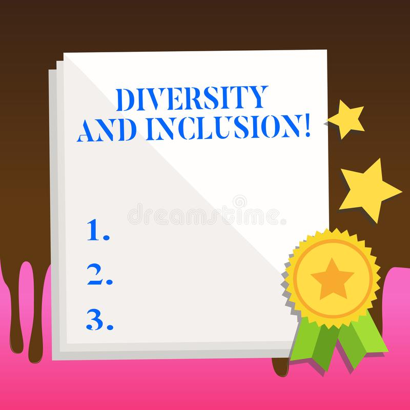 Text sign showing Diversity And Inclusion. Conceptual photo range huanalysis difference includes race ethnicity gender. Text sign showing Diversity And Inclusion royalty free illustration