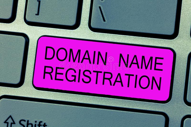 Text sign showing Domain Name Registration. Conceptual photo Own an IP Address Identify a particular Webpage.  stock photo