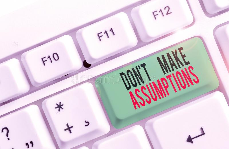 Text sign showing Don T Make Assumptions. Conceptual photo putting plan in future with percentage happening White pc. Text sign showing Don T Make Assumptions stock image