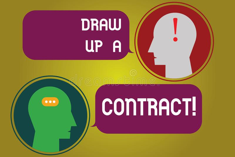 Text sign showing Draw Up A Contract. Conceptual photo Write a business agreement cooperation legal papers Messenger stock illustration