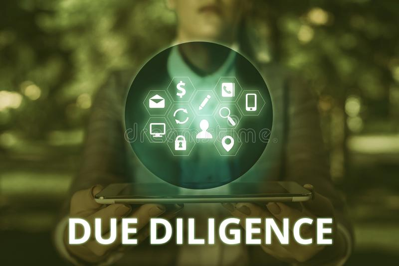 Text sign showing Due Diligence. Conceptual photo Comprehensive Appraisal Voluntary Investigation Audit. Text sign showing Due Diligence. Business photo text royalty free stock photo