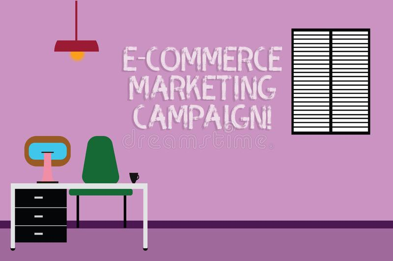 Text sign showing E Commerce Marketing Campaign. Conceptual photo driving awareness of the brand though online Work. Space Minimalist Interior Computer and vector illustration