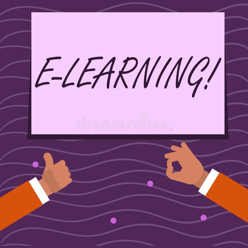 Text sign showing E Learning. Conceptual photo Education by the internet Distant Schooling Web Courses Studies Two stock illustration