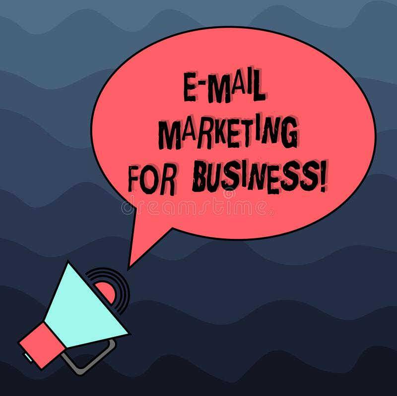 Text sign showing E Mail Marketing For Business. Conceptual photo Mailing as advertising campaign strategies Blank Oval. Outlined Speech Bubble Text Balloon stock illustration