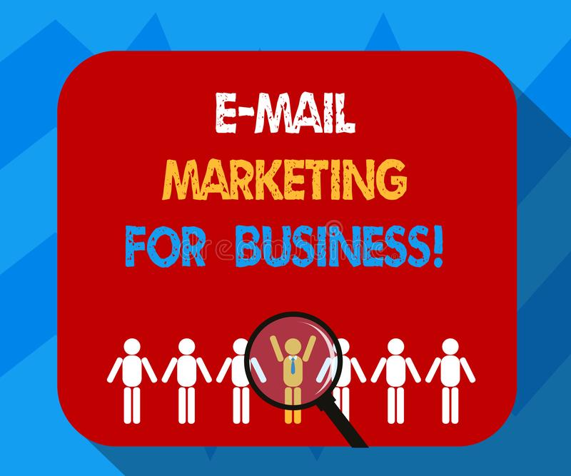 Text sign showing E Mail Marketing For Business. Conceptual photo Mailing as advertising campaign strategies Magnifying Glass Over. Chosen Man Figure Among the vector illustration