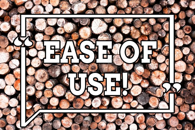 Text sign showing Ease Of Use. Conceptual photo User friendly easy to operate simple technology for everybody Wooden. Background vintage wood wild message ideas royalty free stock photo