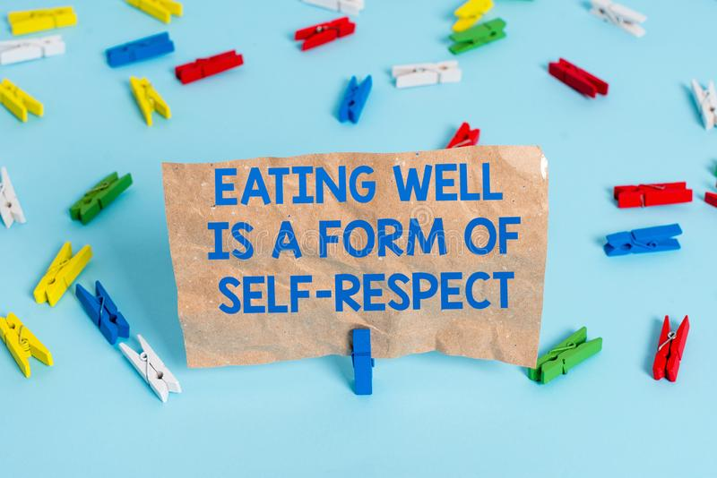 Text sign showing Eating Well Is A Form Of Self Respect. Conceptual photo a quote of promoting healthy lifestyle Colored. Text sign showing Eating Well Is A Form stock image