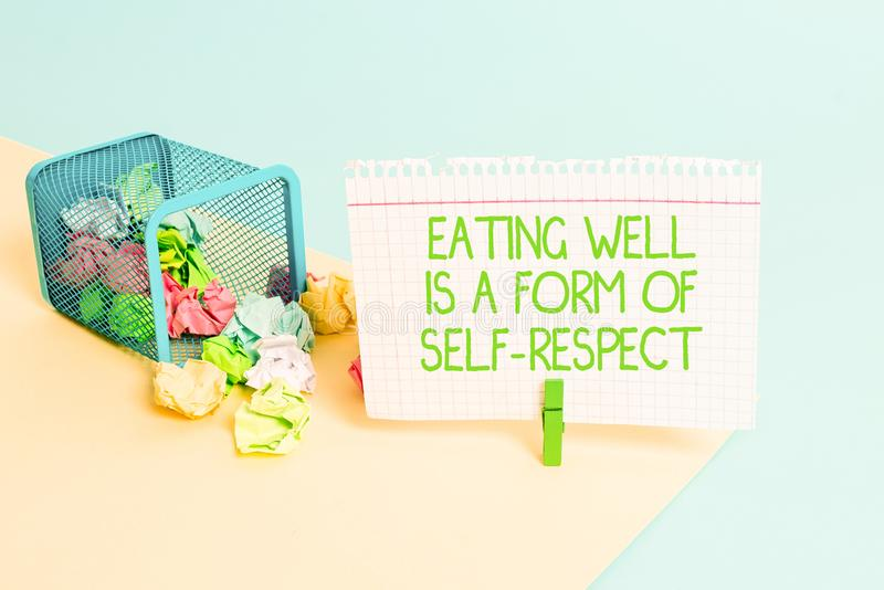 Text sign showing Eating Well Is A Form Of Self Respect. Conceptual photo a quote of promoting healthy lifestyle Trash. Text sign showing Eating Well Is A Form stock images