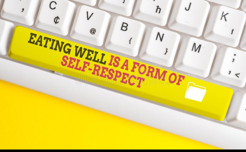 Text sign showing Eating Well Is A Form Of Self Respect. Conceptual photo a quote of promoting healthy lifestyle White. Text sign showing Eating Well Is A Form stock photography