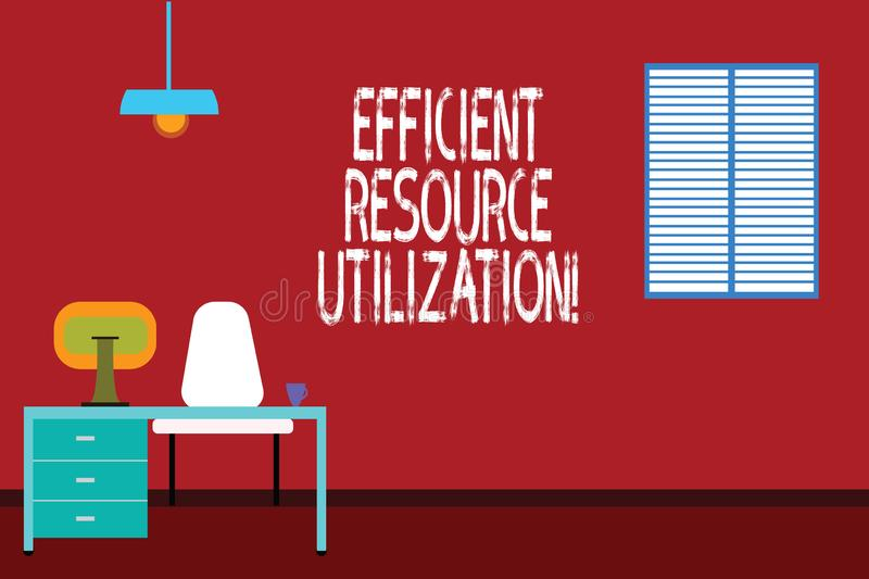 Text sign showing Efficient Resource Utilization. Conceptual photo Maximizing the effectiveness and productivity Work Space. Minimalist Interior Computer and stock illustration