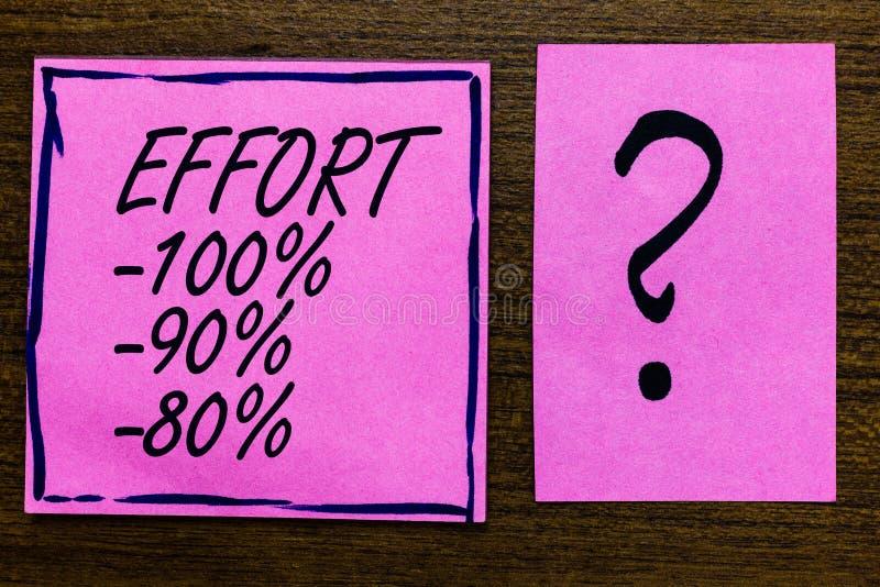 Text sign showing Effort 100 90 80. Conceptual photo Level of determination discipline motivation Violet color black lined sticky. Note with letters black stock image