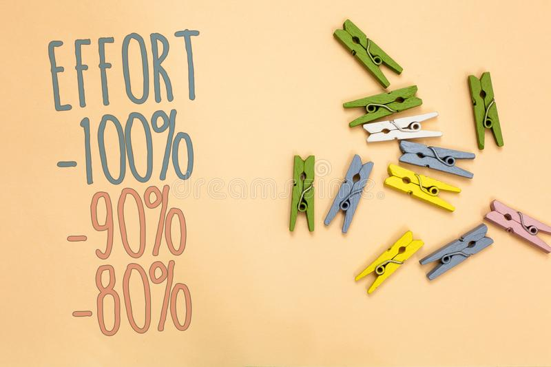 Text sign showing Effort 100 90 80. Conceptual photo Level of determination discipline motivation Yellow base with painted texts c. Olorful paper clips laid stock photos