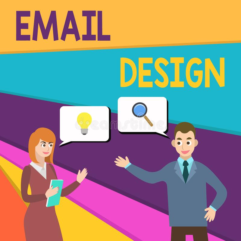 Text sign showing Email Design. Conceptual photo reusable HTML file that is used to build email campaigns Business stock illustration