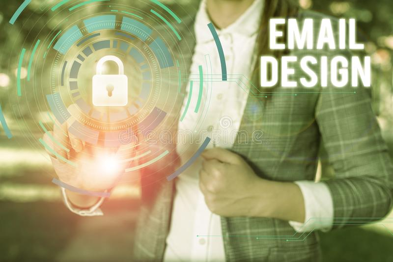 Text sign showing Email Design. Conceptual photo reusable HTML file that is used to build email campaigns Female human stock photos