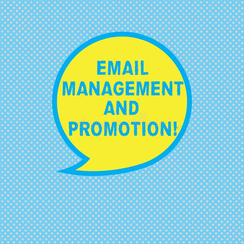 Text sign showing Email Management And Promotion. Conceptual photo Mailing as advertising campaign strategies Blank. Speech Bubble Sticker with Border Empty vector illustration