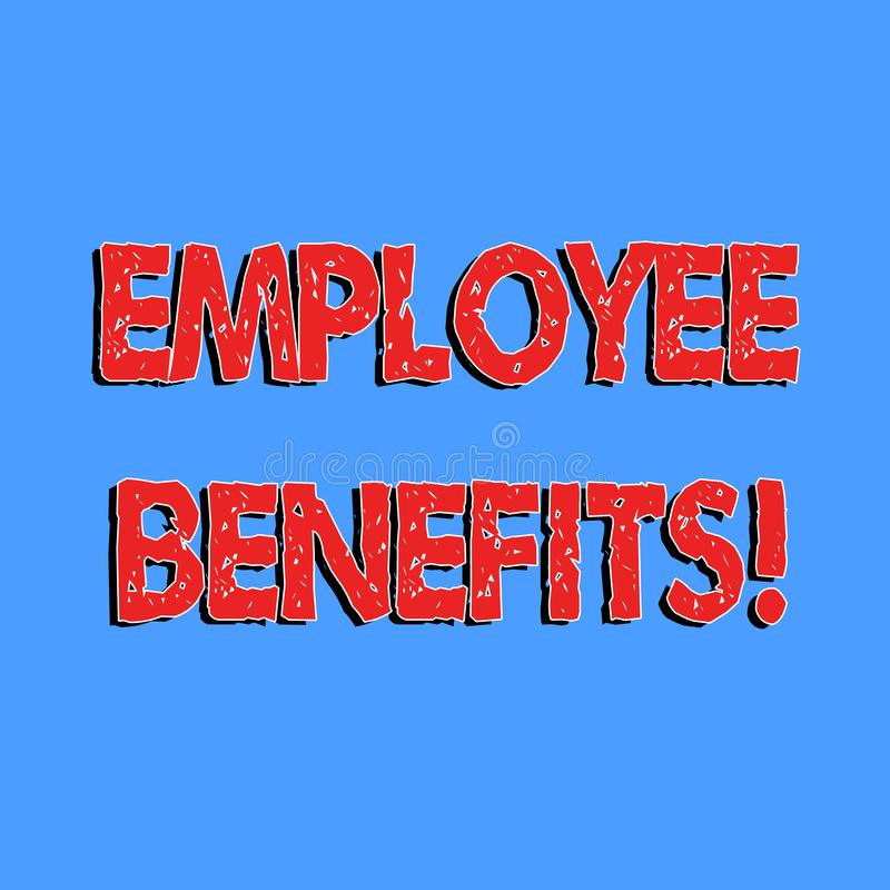 Text sign showing Employee Benefits. Conceptual photo list of advantage recruiter get at work Insurance. Text sign showing Employee Benefits. Conceptual photo stock illustration