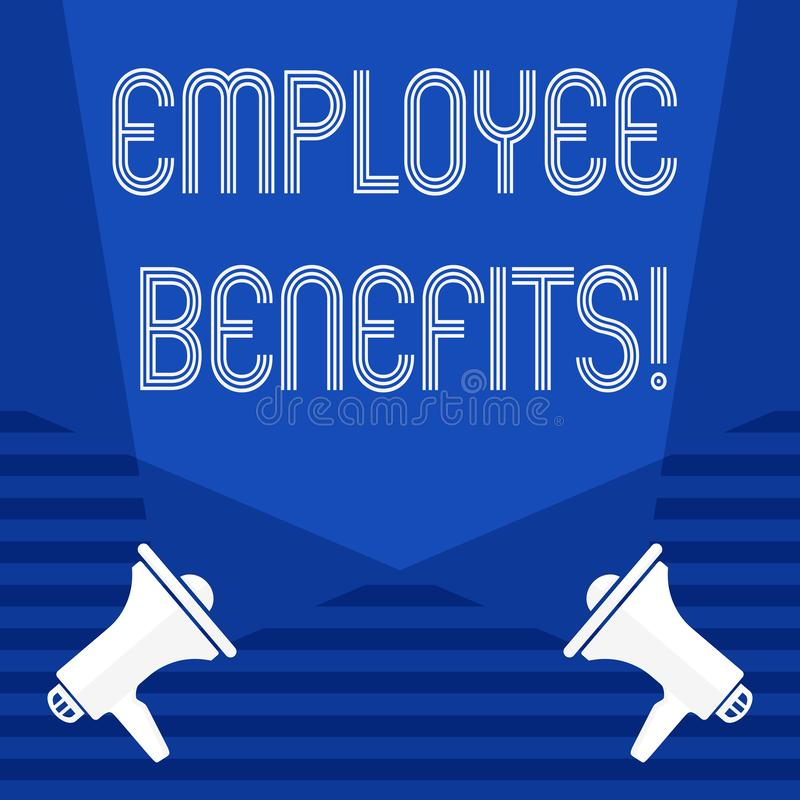 Text sign showing Employee Benefits. Conceptual photo list of advantage recruiter get at work Insurance. Text sign showing Employee Benefits. Conceptual photo royalty free illustration