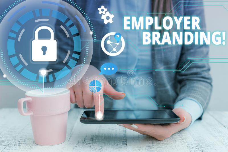 Text sign showing Employer Branding. Conceptual photo promoting company employer choice to desired target group woman. Text sign showing Employer Branding stock photo