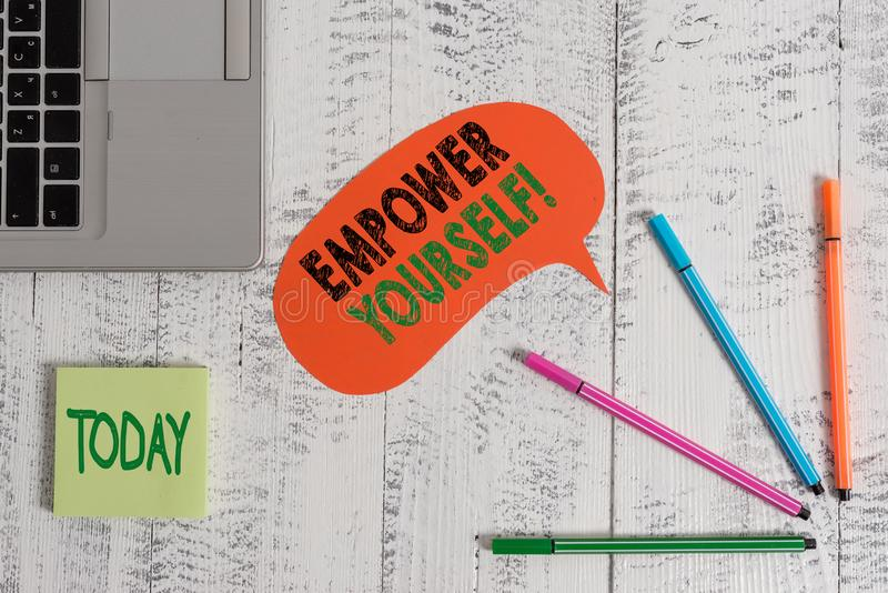 Text sign showing Empower Yourself. Conceptual photo taking control of our life setting goals and making choices Open. Text sign showing Empower Yourself royalty free stock photo