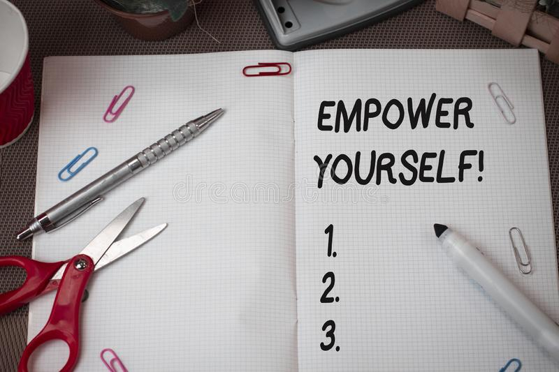 Text sign showing Empower Yourself. Conceptual photo taking control of our life setting goals and making choices. Text sign showing Empower Yourself. Business stock photos