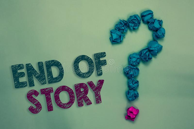 Text sign showing End Of Story. Conceptual photo Emphasize that nothing to add Literature writing Journalism Crumpled papers formi. Ng question mark several royalty free stock photo