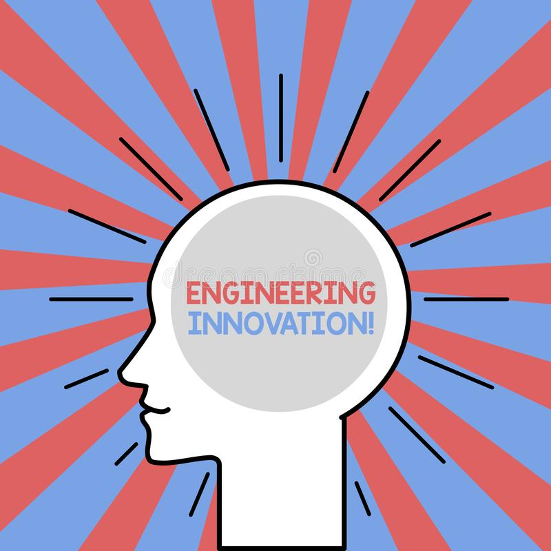 Text sign showing Engineering Innovation. Conceptual photo Process expressed in Logic and Mathematical Form Outline. Text sign showing Engineering Innovation royalty free illustration
