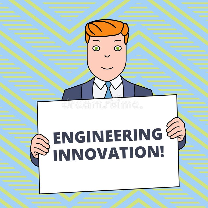 Text sign showing Engineering Innovation. Conceptual photo Process expressed in Logic and Mathematical Form Smiling Man. Text sign showing Engineering Innovation stock illustration