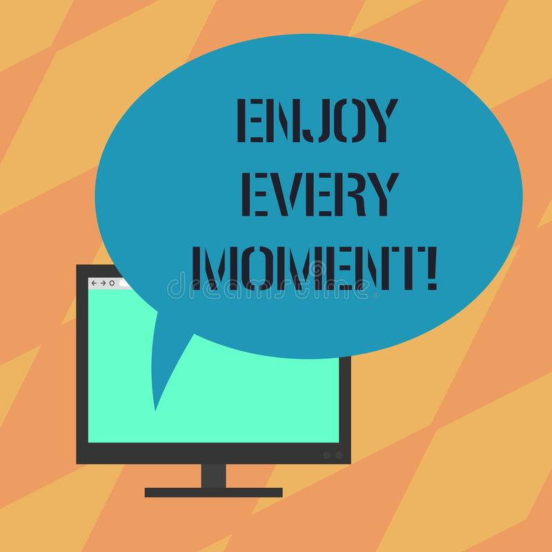 Text sign showing Enjoy Every Moment. Conceptual photo Remove unneeded possessions Minimalism force live present Mounted. Computer Monitor Blank Screen with royalty free illustration