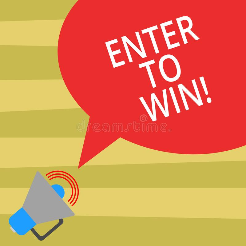 Text sign showing Enter To Win. Conceptual photo Sweepstakes Trying the luck to earn the big prize Lottery Megaphone vector illustration
