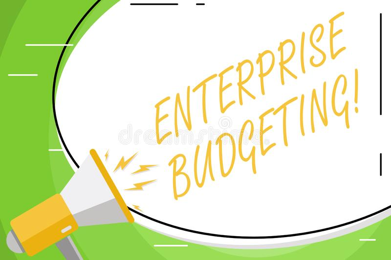 Text sign showing Enterprise Budgeting. Conceptual photo estimated income and expenses associated in business Blank. Text sign showing Enterprise Budgeting stock illustration