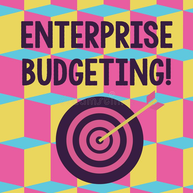 Text sign showing Enterprise Budgeting. Conceptual photo estimated income and expenses associated in business Color Dart. Text sign showing Enterprise Budgeting stock illustration